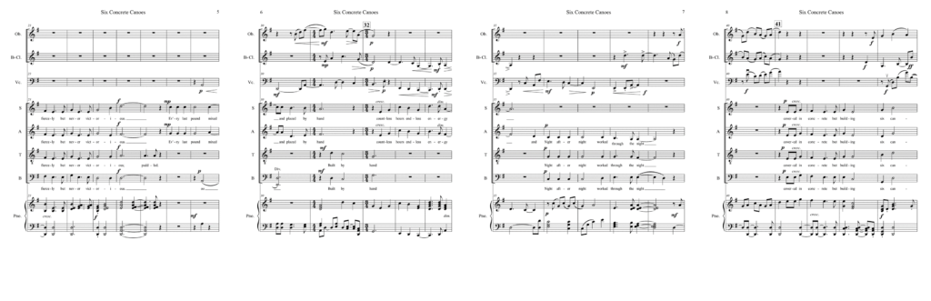 """Sheet music excerpt for the choral version of """"Six Concrete Canoes"""" accompanied by piano, oboe, clarinet, and cello."""