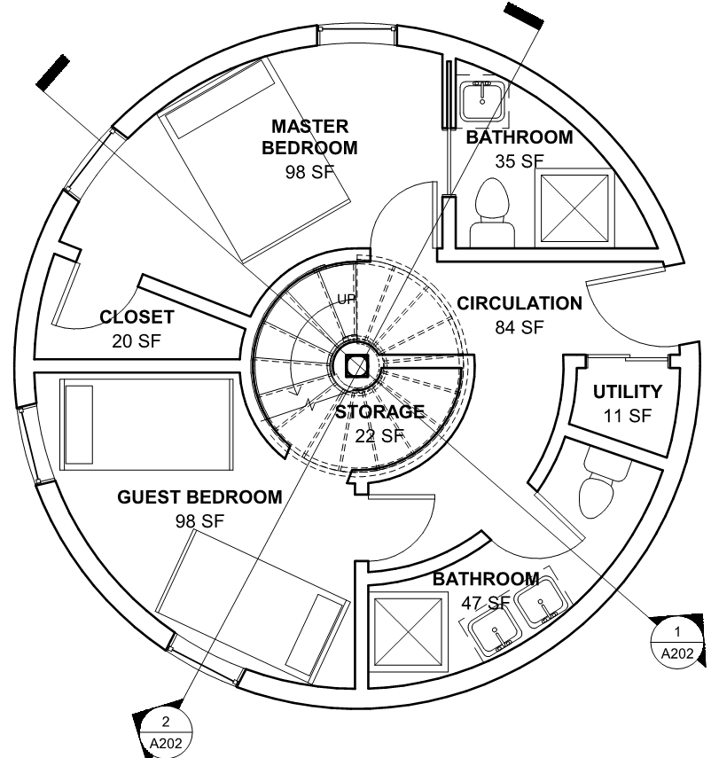 Level 1 floor plan of the water tank house